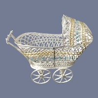 Old Miniature Soft Metal Baby Carriage Pram  Dollhouse Doll