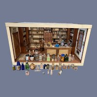 Old Miniature Miniature Pharmacy Alice Steele's Apothacary Dollhouse Drug Store W/ Old Glass Diorama 165 plus pieces