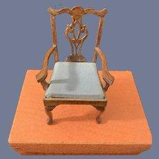 Vintage Miniature Wood Chair Ornate Dollhouse