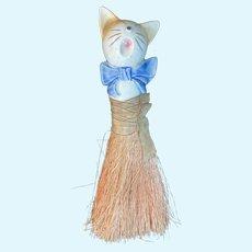 Old Half Doll Brush Broom Cat Porcelain