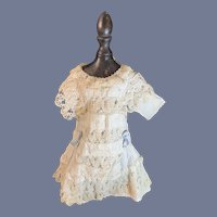 Old Doll Dress Lace and Embroidery W/ Bows French Market