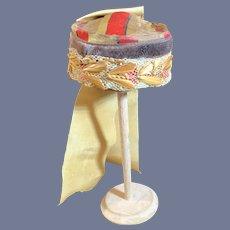 Old Doll Silk Lace Ribbon Seeds Bow Pill Box W/ Sash Fashion Doll