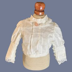 Old Doll Blouse Top Fashion Doll Sweet Fancy Button Cuffs Lace Trim