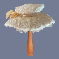 Antique Doll Lace Fancy Bonnet Hat Large Bow and Flowers Gorgeous French Market