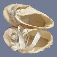 Antique Doll Shoes W/ Buckles Oil Cloth