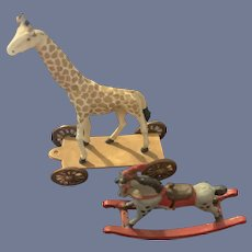Sweet Miniature Metal Animals Pull toy Giraffe and Rocking Horse Dollhouse