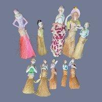 Old Doll Half Doll HUGE lot Half Doll Broom Doll TEN DOLLS