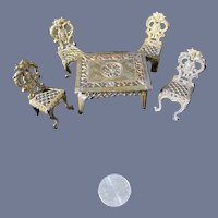 Vintage Miniature Soft Metal Ornate Gold Fancy Doll Dollhouse Furniture