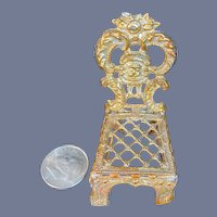 Vintage Doll Ornate Soft Metal German Rocking Chair Miniature Dollhouse Gold