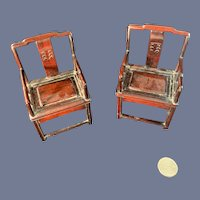 Vintage Doll Wood Chairs Carved Oriental Style Miniature Chairs Matching Dollhouse