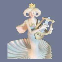 Old Wonderful Bisque Lady Figurine Trinket Holder W/ Harp Incised Unusual Hair Style