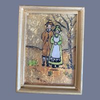 Old Miniature Foil Reverse Painting Folk Art Miniature Doll Dollhouse Framed