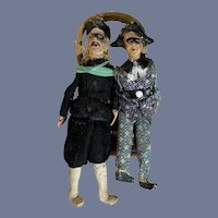 Old Doll Set From  Punch and Judy Show Puppet Papier Mache