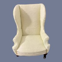 VIntage Miniature Doll Wing Chair Dollhouse Upholstered