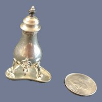 Vintage Sterling Silver Coffee Pot W/ Lid and Heavy Tray Miniature Doll Dollhouse