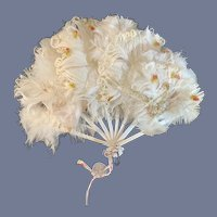 Antique Doll Feather Ornate Fan French Market