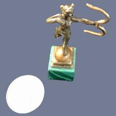 Wonderful Vintage Metal Figurine Bow & Arrow Sculpture Marble Base Miniature Doll Dollhouse