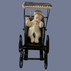 Vintage Doll Miniature Dollhouse Doll and Pram Carriage Buggy W/ Doll