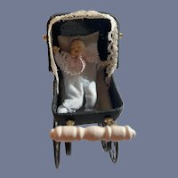 Vintage Doll Pram W/ Celluloid Miniature Baby Dollhouse Carriage Buggy