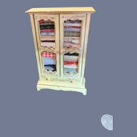 Vintage Artist Made Wood Wardrobe Painted Miniature Dollhouse Filled W/ Fabric
