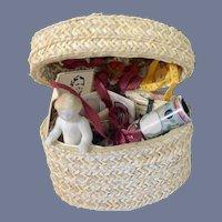 Wonderful Artist Trousseau in Miniature Basket Dollhouse Doll Old Frozen Charlotte