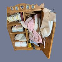 Vintage Doll Wardrobe Miniature FIlled W/ Clothes Accessories Dollhouse Wood
