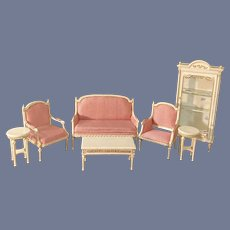 Vintage Wonderful Miniature Fancy French Style Doll Dollhouse Furniture LOT Sofa Two Chairs China Cabinet Tables Kaufmann