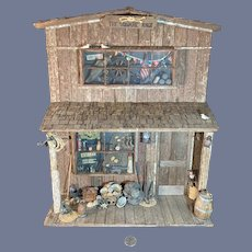 Wonderful Vintage Wood Carved Maidhoff Bros. Nautical Store Miniature Store Front W/ Accessories Glass