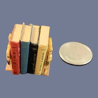 Vintage Doll Dollhouse Miniature Book Shelf W/ Books Bookends W/ Miniature Faux Books Rooster