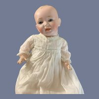Antique Doll Bisque Head Glass Eyes Solid Dome Kestner Baby Dressed Christening Gown