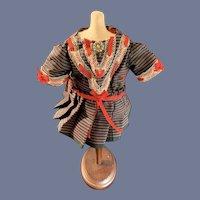 Old Doll Dress Drop Waist Hand made Threaded Ribbon Petite Doll