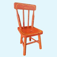 Sweet Old Doll Chair Wood Spindle Back Painted Old Red Chair Sweet Size