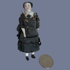 Antique Miniature Doll China Head Flat Top Old Original Factory Clothes Dollhouse