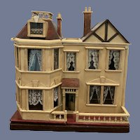 Antique British Dollhouse for Miniature Doll WONDERFUL G and J Lines Litho Wood w/ Chandeliers - Manor House circa 1910