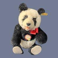 Sweet Vintage Panda Bear Mohair Jointed Steiff Button Tag Panda-Bar EAN 0178/29 Chest Tag Teddy Bear