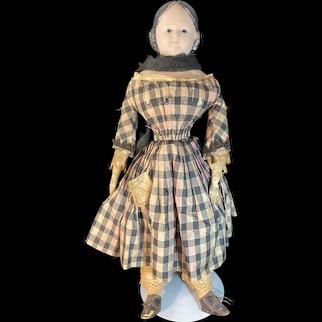 Antique Doll Papier Mache Glass Eye Pre- Greiner All Original Antique Doll Clothing Doll Shoes