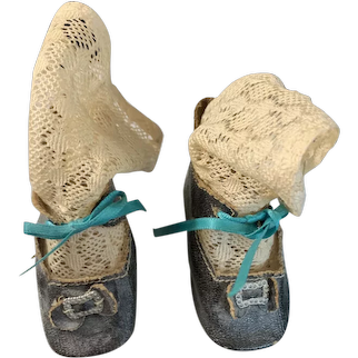 Antique Doll Oil Cloth Buckle Shoes with Heels and Fancy Stockings