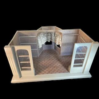 Vintage Doll Dollhouse Roombox Glass Windows Bay Window Miniature Diorama