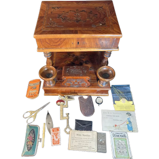Antique BEAUTIFUL Inlaid Sewing Box W/ a Ton of Accessories Sewing Items Key Lock Wood