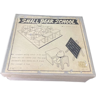 Vintage Small Bear School Mint in Box Teddy Bear Miniature Dollhouse Miniatures Miniature School