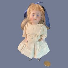 Antique All Bisque Jointed Doll W/ French Loop Head French Market Pink Stocking
