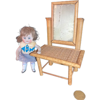 """Old Doll Miniature Bamboo Vanity Dollhouse Straw Top 6"""" tall"""
