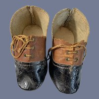 Antique Doll Shoes Two Tone Lace Up