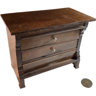 Old Miniature Wood Chest Dollhouse Doll Fancy