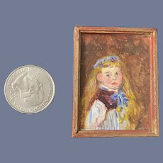 Wonderful Signed Painting Portrait mademoiselle Signed Miniature Doll Dollhouse Framed