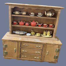 Vintage Doll Cupboard Wood W/ Shelves and Drawers Cabinet W/ Accessories Charles M Graves Artist