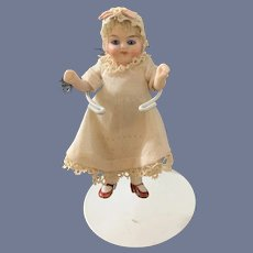 Wonderful Antique All Bisque Jointed Doll Miniature Glass Eyes Factory Clothing