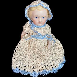 Wonderful Three Piece Crochet Doll set Dress Bonnet Panties W/ Doll All bisque