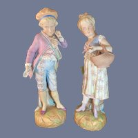 Wonderful Old Bisque Piano Baby Figurine Set Victorian Lady and Victorian Man Doll