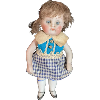 Antique Miniature Doll All Bisque Jointed Glass Eyes W/ German Stamp Dollhouse Prize Baby W/ Original Tag